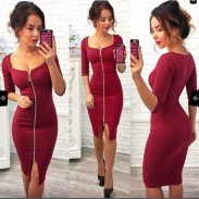 Sexy Sleeves Whole Color Zipper Package Hip Skirt Women's Three Quarter Dress