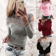 Sexy Long Sleeve Flower T-shirt Splice Lace Off Shoulder Women's Tops