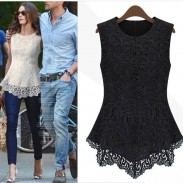 Sweet Retro Hollow Out Lace Printed Sleeveless Blouse