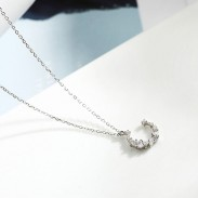 Cute Moon Zircon Pendant Silver Necklace Friend Gift Women Necklace