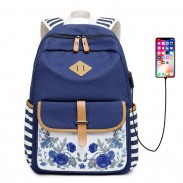 Fresh Floral Young Student Canvas Backpack Stripe Flower School Bag USB Interface Backpack
