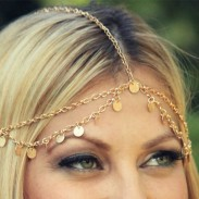 Fashion Gold Piece Wave Tassel Chain Hair Accessory