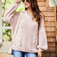 Leisure Knitting Twist Round Neck Sweater Long Sleeve Openwork Women Sweater