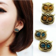 Fashion Retro Copper Silvery Bardian Owl Ear Studs