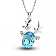 Lovely Crystal Lucky Deer Pendant Necklace