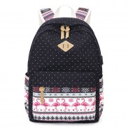 Unique Dot Pig Nose Crane Bird Print Totem Folk Style Canvas School Backpack