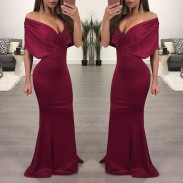 Sexy Shoulder Backed Skirt Prom Dresses Long Party Dress