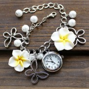 Fresh Pearl Flowers Metal Bracelet Watch