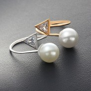 Pearl Crystal Triangular Diamond-bordered Fashion Plastic Open Ring