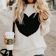 Romantic Love Heart Knit Long Sleeve Cardigan Women Sweater