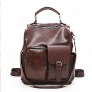 Retro British Style Soft Leather Irregular Pocket Multi-function Shoulder Bag School Backpack