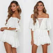 Sexy White Hollow Off-The-Shoulder Mid Sleeve Summer Dress Romper