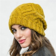 Leisure Checkered Soft Thick Wool Hairband Knit Warm Winter Women Hat