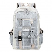 Cute Cartoon Bear Decor Double Buckle Grid Canvas School Bag Large Capacity Student Backpack