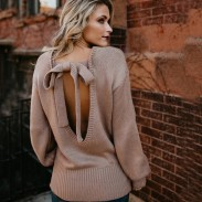 Leisure Long Sleeve Back Bow Knitting Loose Long Wool Women's Sweater