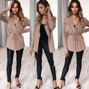 Fashion Women's Winter Autumn Knitting Sweater Long Sleeve Tie-up Top Coat