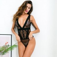 Sexy Mesh Perspective Conjoined Flower Black Lace Underwear Intimate Lingerie