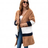Leisure Striped Long Cardigan Warm Velvet Loose Long Sweater Women Autumn Coat