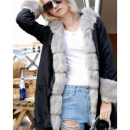 Punk Hooded Collar Fur Long Sleeve Cardigan Fluff Warm Long Women Coat