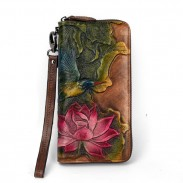 Retro Leaf Bird Embossed Wallet Vintage Original Lotus Flower Lotus Clutch Bag