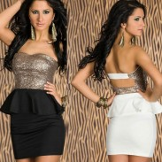 New Fashion good Sequined Strapless Lotus Leaf Lace Dress