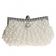 Noble Bling Diamond Satin With Pearls Party Clutch Prom Evening Handbag Wedding Bag