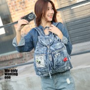 Retro British Flash Drilling Glasses Lips Perfume Denim Student  Single Buckle School Backpack