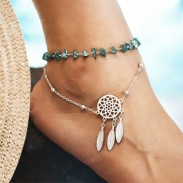 Retro Openwork Dream Catcher Irregular Turquoise Bracelet Feather Pendant Beach Anklet