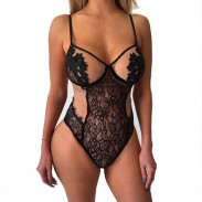 Sexy Hollow Leaves Flower Sling Conjoined Black Lace Women Intimate Lingerie