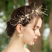 Sweet Handmade Shell Leaves Crystal Wedding Hair Band Hair Accessories
