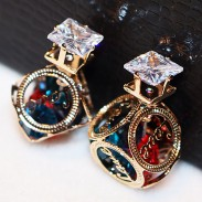 Fashion Colorful Crystal Cubic Hollow Camellia Ball Women Earring Studs