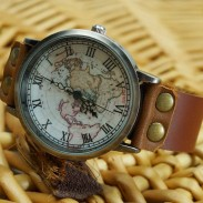 Handmade Retro World Map Leather Watch