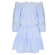 Sweet Light Blue Lace Strapless Low Cut Casual Dress
