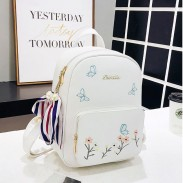 Fresh Cute Butterfly Flower PU College Bag School Backpack