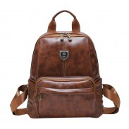 Retro Brown Rivet British Style School Bag College Backpack