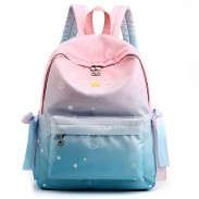Fresh Girls Junior Gradient Starry Sky Dolphin High School Backpacks Waterproof Student Backpack