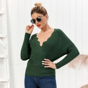 Leisure Autumn Winter Solid Color Knit Slim V-neck Long-Sleeved Cardigan Women Sweater