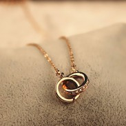 Fashion Double Circular Oval Ring Rhinestone Pendant Chain Necklace