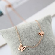 Cute Doublue Butterfly Pendant Animal Rose Gold Necklace