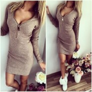 Fashion Long Sleeve Bodycon Strapless Low Cut  Dress