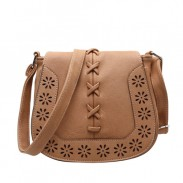 Retro Saddle Mori Style Hollow Flower Weave Shoulder Bag