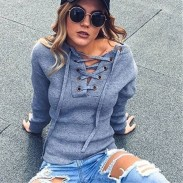 Women's Basic Long Sleeve V Neck Sweater Bandage Knit Pullover