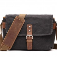 Retro Single Button Messenger Bag Thick Canvas Outdoor Shoulder Bag