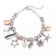 Vintage Beach Silver Bead Fish Shell Hollow Pentagram Star Rudder Starfish Pendant Anklet