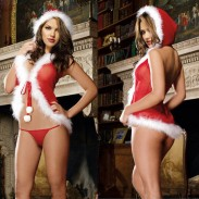 Sexy Red Christmas Plush One Piece Hat Women Lingerie