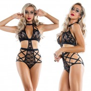 Sexy Lace Cross Hollow Conjoined Underwear Black Flower Intimate Women Lingerie