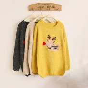Christmas Deer Lovely Red Nose Sleeve Sweater