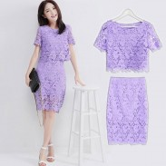 Two-piece Hollow Out Hook Lace OL Dress