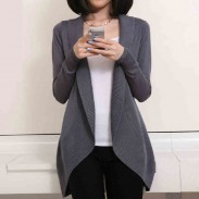 Casual Cardigan Lapel Asymmetrical Hem Solid Long Sleeves Sweater