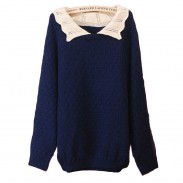 Lovely Loose Hollow Lapel sweater